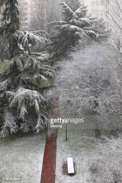 Snow in Montrouge, a suburb of Paris, France.