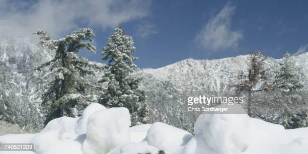 Snow in mountain landscape
