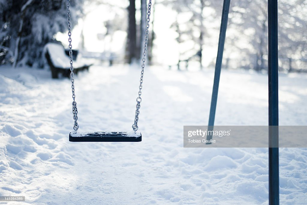 Snow in playground : Stock-Foto