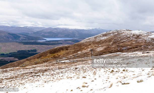 Snow in Scottish Highlands with Sgurr Finnisg-aig viewpoint on Ben Nevis, Scotland, United Kingdom