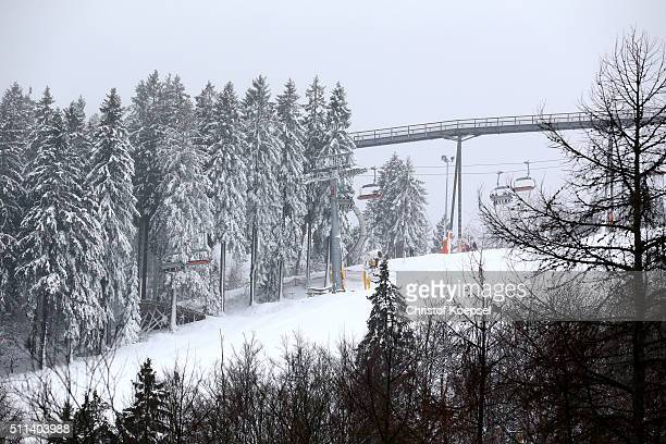 Snow in the ski area of during the Viessmann Luge World Cup Day 1 at Veltins Eis-Arena on February 20, 2016 in Winterberg, Germany.