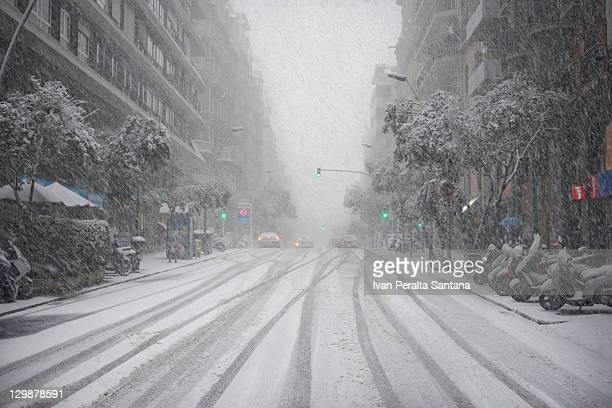 Snow in winter at Barcelona