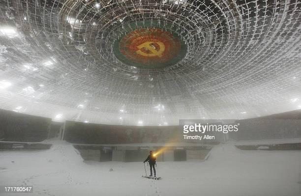 Snow inside The abandoned Buzludzha Monument