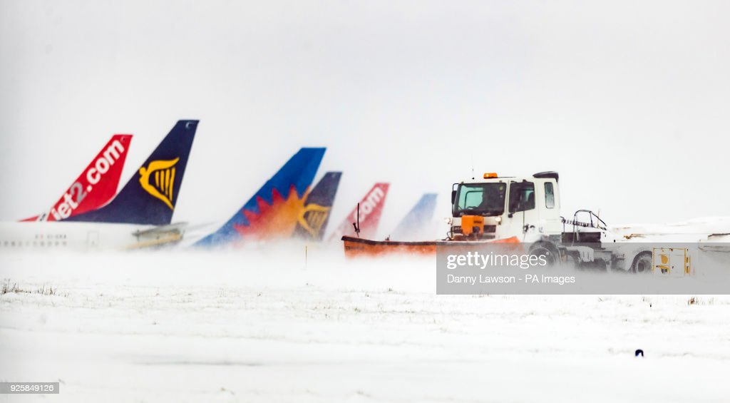 Winter weather march 1st 2018 pictures getty images snow is cleared at leeds bradford airport in yorkshire as storm emma rolling in m4hsunfo