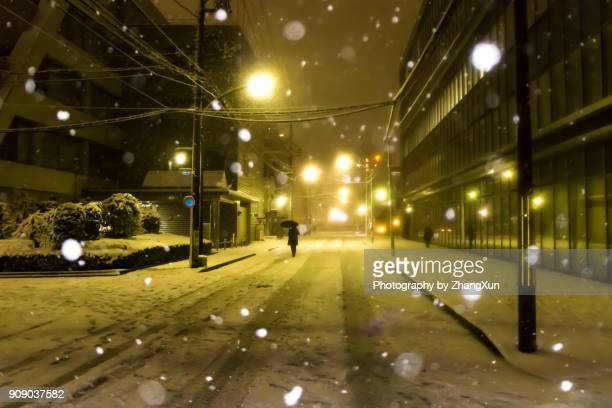 Snow is falling in Tokyo downtown street at night in 2018 winter, Japan.