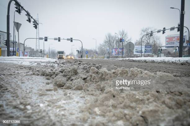 Snow is seen covering a busy road in Bydgoszcz Poland on January 16 2018/ More snow is expected for the coming days across the country and...