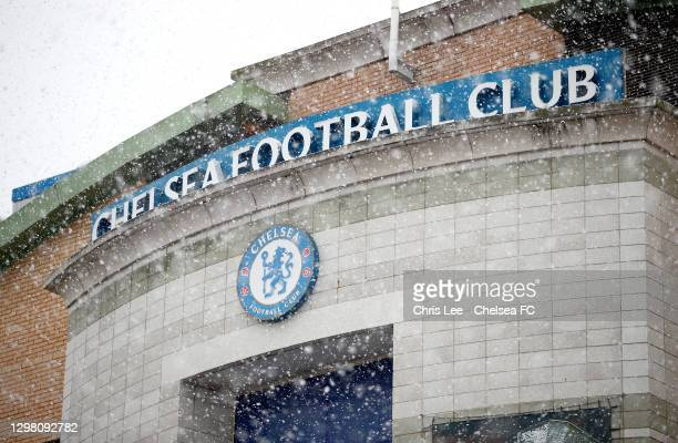 Snow is seen falling outside the stadium prior to The Emirates FA Cup Fourth Round match between Chelsea and Luton Town at Stamford Bridge on January...