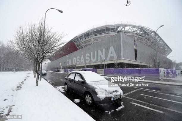 Snow is seen falling outside the stadium prior to the La Liga Santander match between C.A. Osasuna and Real Madrid at Estadio El Sadar on January 09,...