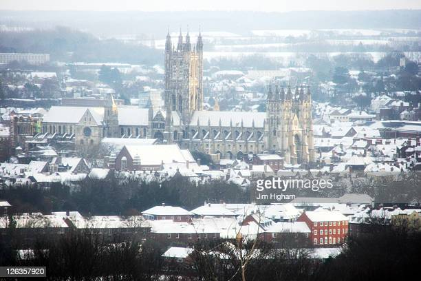 Snow laden Canterbury Cathedral