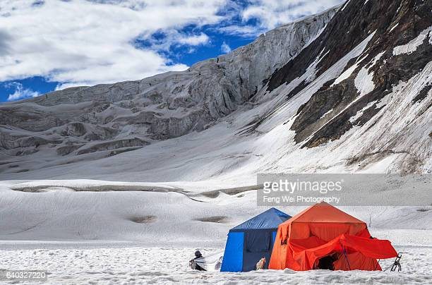 Snow Lake Campsite Beneath Hispar La, Biafo Hispar Snow Lake Trek, Central Karakoram National Park, Gilgit-Baltistan, Pakistan