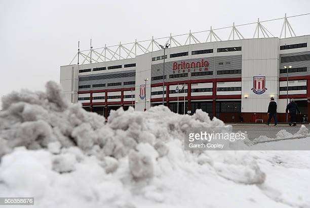 Snow lies in the car park outside the ground prior to the Barclays Premier League match between Stoke City and Arsenal at Britannia Stadium on...
