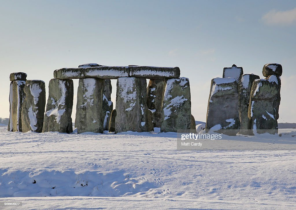 Snow lies on the ground around the historic monument of Stonehenge near Amesbury on January 9 2010, in Wiltshire, England. The UNESCO world heritage site and one the UK's most popular tourist destinations has been closed due to the ice and snow on the approach paths and footways. Britain is continuing to be gripped by the Arctic weather and forecasters are predicting more snow in the next 24hrs and that the cold spell could last for at least another week.