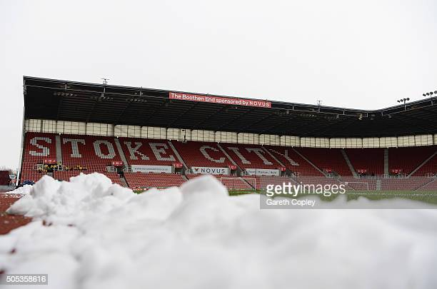 Snow lies pitchside prior to the Barclays Premier League match between Stoke City and Arsenal at Britannia Stadium on January 17 2016 in Stoke on...