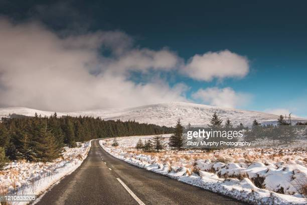 snow lined road on sunny day - mountain stock pictures, royalty-free photos & images