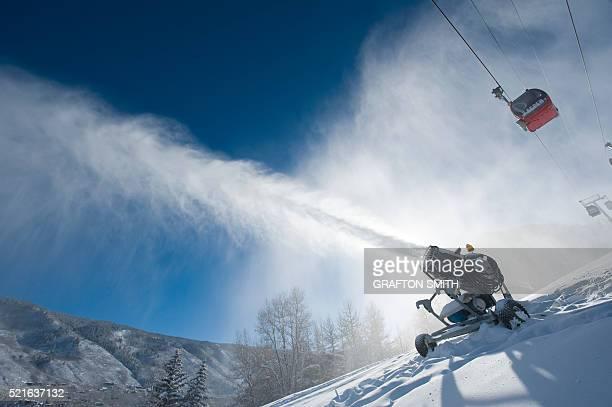 Snow machine on a ski slope