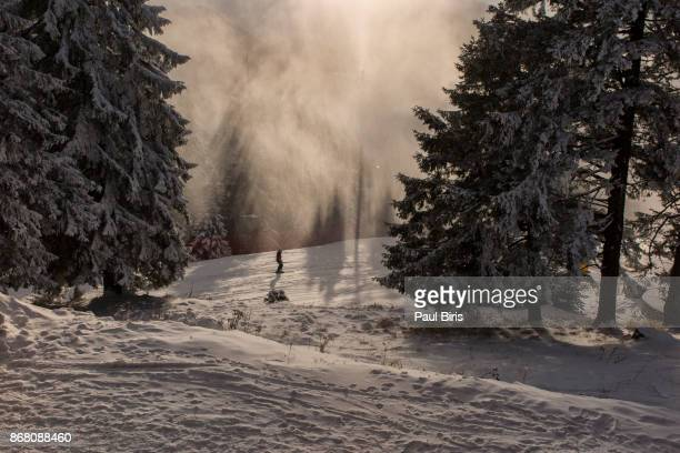 Snow Making in the sky resort, Poiana Brasov, Transylvania, ROmania