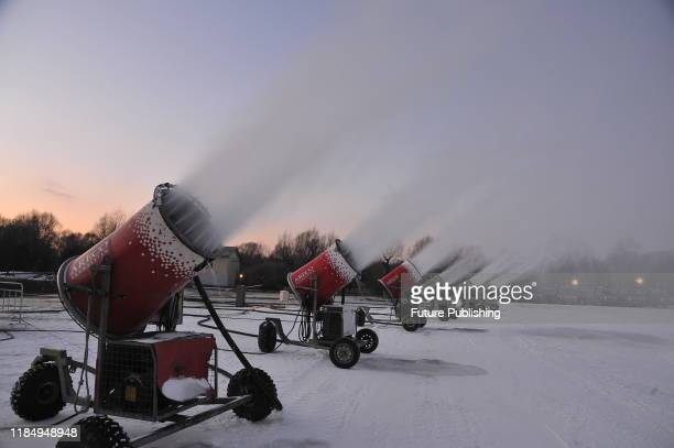 HARBIN CHINA NOVEMBER 27 2019 15 snow making machines of the snow Expo in Sun Island Park are used to make artificial snow to prepare for the...