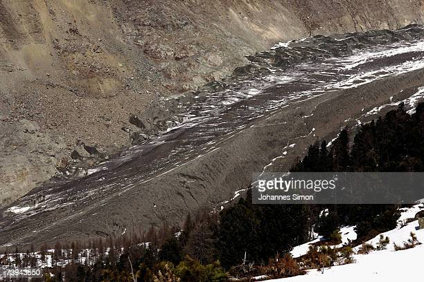 Snow melts at the moraine end of the Aletsch Glacier from Moosfluo point April 21 2007 near Brig Switzerland The Aletsch Glacier is the largest...