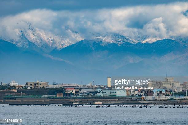 snow mountains and the beach in kanagawa prefecture of japan - chigasaki stock pictures, royalty-free photos & images