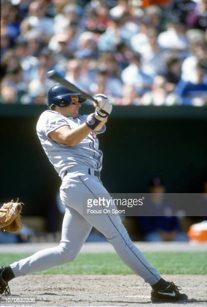 T Snow of the California Angels bats against the Baltimore Orioles during an Major League Baseball game circa 1993 at Oriole Park at Camden Yards in...