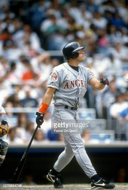 T Snow of the California Angels bats against the New York Yankees during an Major League Baseball game circa 1995 at Yankee Stadium in the Bronx...