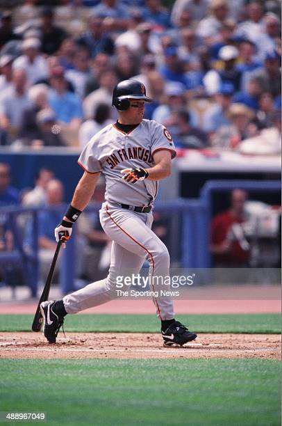 T Snow of the San Francisco Giants bats against the Los Angeles Dodgers at Dodger Stadium on April 2 2002 in Los Angeles California