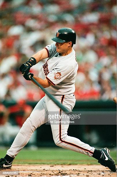 T Snow of the San Francisco Giants bats against the St Louis Cardinals at Busch Stadium on July 19 1997 in St Louis Missouri The Cardinals beat the...