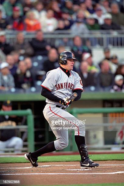 T Snow of the San Francisco Giants bats during a Major League Baseball game against the Pittsburgh Pirates at PNC Park circa 2003 in Pittsburgh...