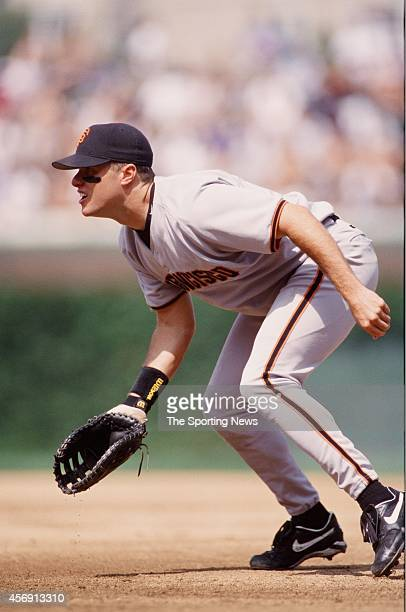 T Snow of the San Francisco Giants fields against the Chicago Cubs at Wrigley Field on August 26 1999 in Chicago Illinois