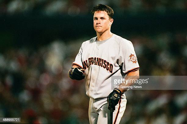 T Snow of the San Francisco Giants looks on against the St Louis Cardinals at Busch Stadium on July 19 1997 in St Louis Missouri The Cardinals beat...