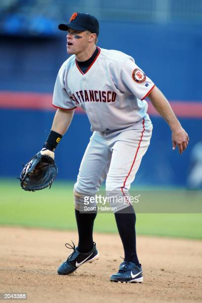 T Snow of the San Francisco Giants plays first base during the game against the San Diego Padres at Qualcomm Stadium on Opening Day March 31 2003 in...
