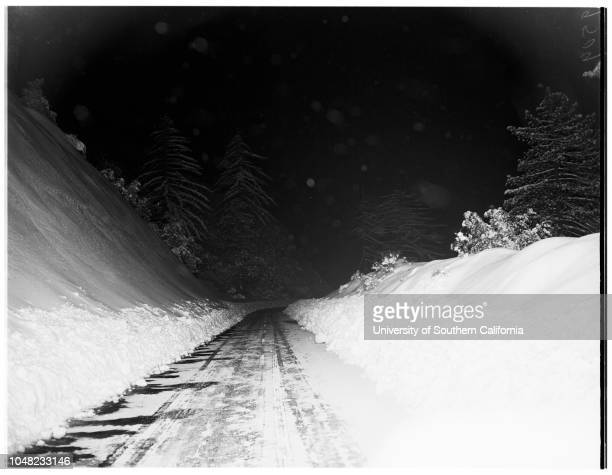Snow on Angeles Crest Highway 17 March 1952Caption slip reads 'Photographer Sandusky Date Assignment Snow on Angeles Crest Highway D17 37 Scenic...