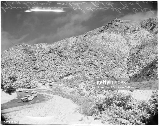 Snow on Angeles Crest Highway 22 February 1959 Snowtopped San Gabriel MountainSnow scene at Red BoxAngeles Crest HighwayMrs Laddie ValekMike Valek 3...