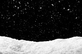 Snow on black background with snowfall. Snowdrift backdrop in winter season.