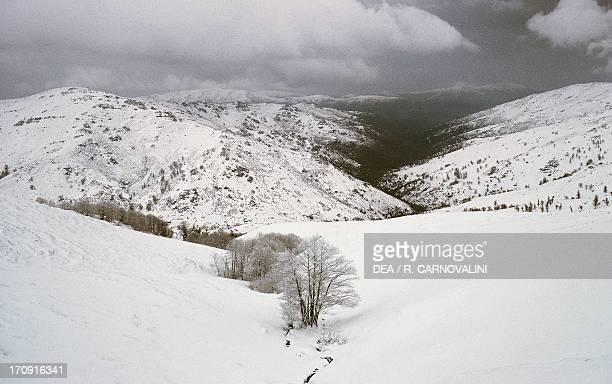 Snow on Bruncu Spina Gulf of Orosei and Gennargentu National Park Sardinia Italy