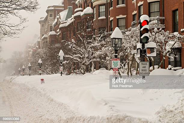 Snow on Commonwealth Avenue in Boston MA where over 7 feet of snow has fallen in past 3 weeks on February 15 2015