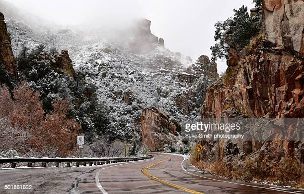 snow on mount lemmon - mt lemmon stock photos and pictures