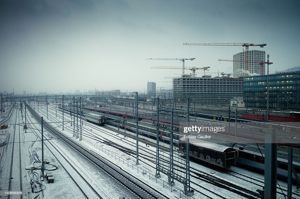 Snow on railway tracks : Stock-Foto