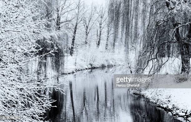 snow on river welland - renzo gherardi stock photos and pictures