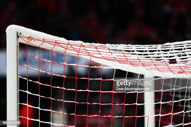 Snow on the goal net is pictured during the Bundesliga match between 1 FC Koeln and SportClub Freiburg at RheinEnergieStadion on December 10 2017 in...