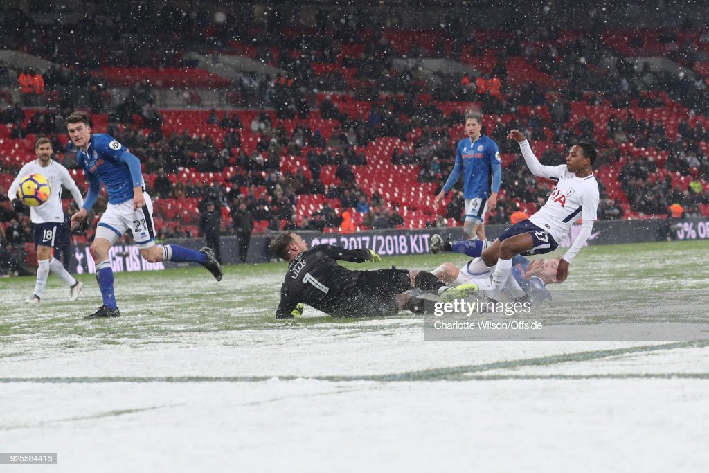 Snow on the pitch at Wembley as Kyle Walker-Peters of Tottenham Hotspur scores their 6th goal during the Emirates FA Cup Fifth Round Replay match between Tottenham Hotspur and Rochdale at Wembley Stadium on February 28, 2018 in London, United Kingdom.