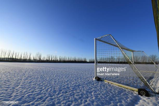 Snow on the pitches at the Arsenal training ground at London Colney on January 25, 2021 in St Albans, England.