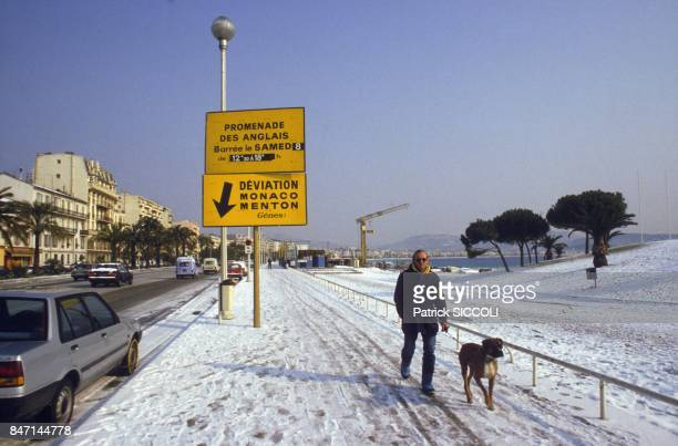 Snow on the Promenade des Anglais in Nice in February 1986 in Nice France