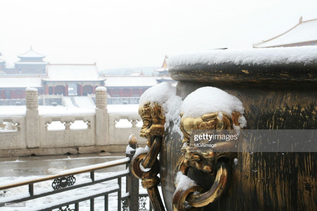 snow over the Forbidden City : Stock Photo