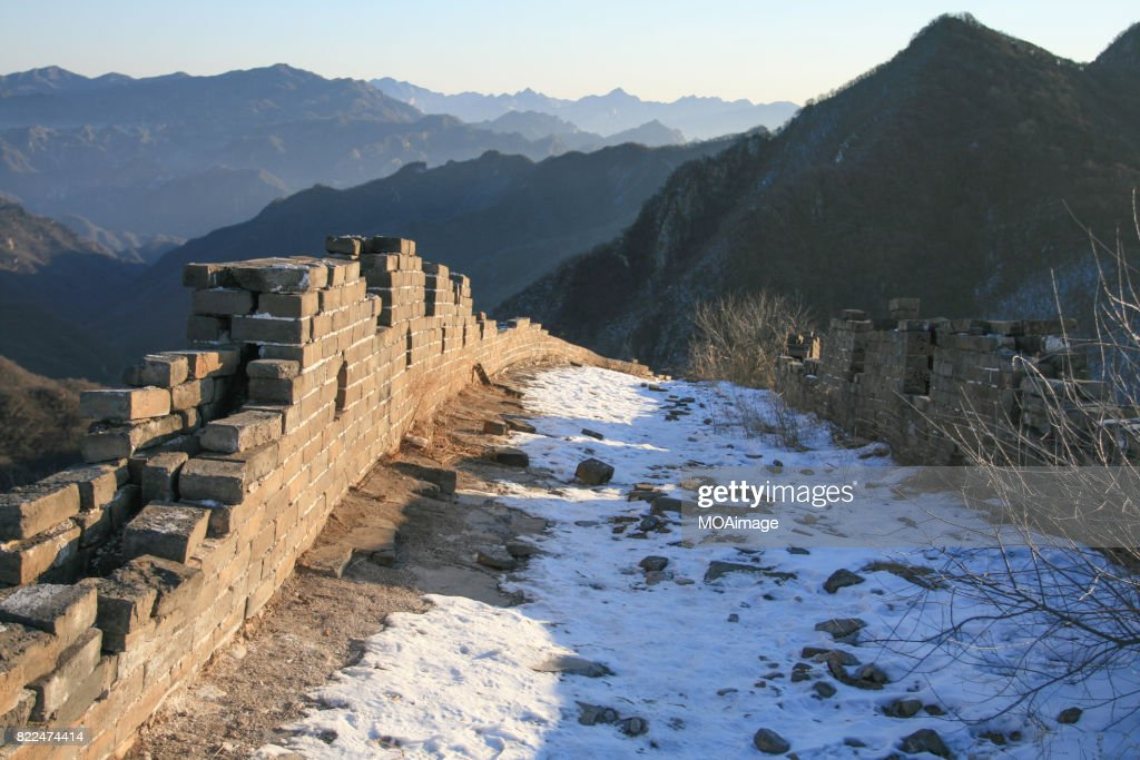 snow over the Great Wall : Stock Photo