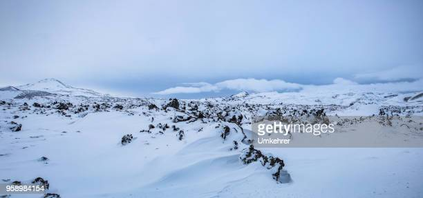 snow panorama in iceland - snow scene stock photos and pictures