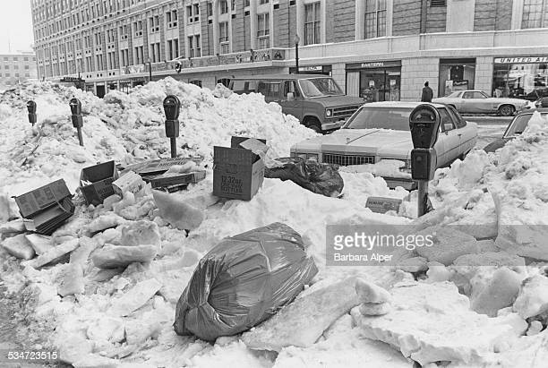 Snow piled high in a street in Boston Massachusetts after a 21inch snowfall during the Northeastern United States blizzard of 1978 6th February 1978
