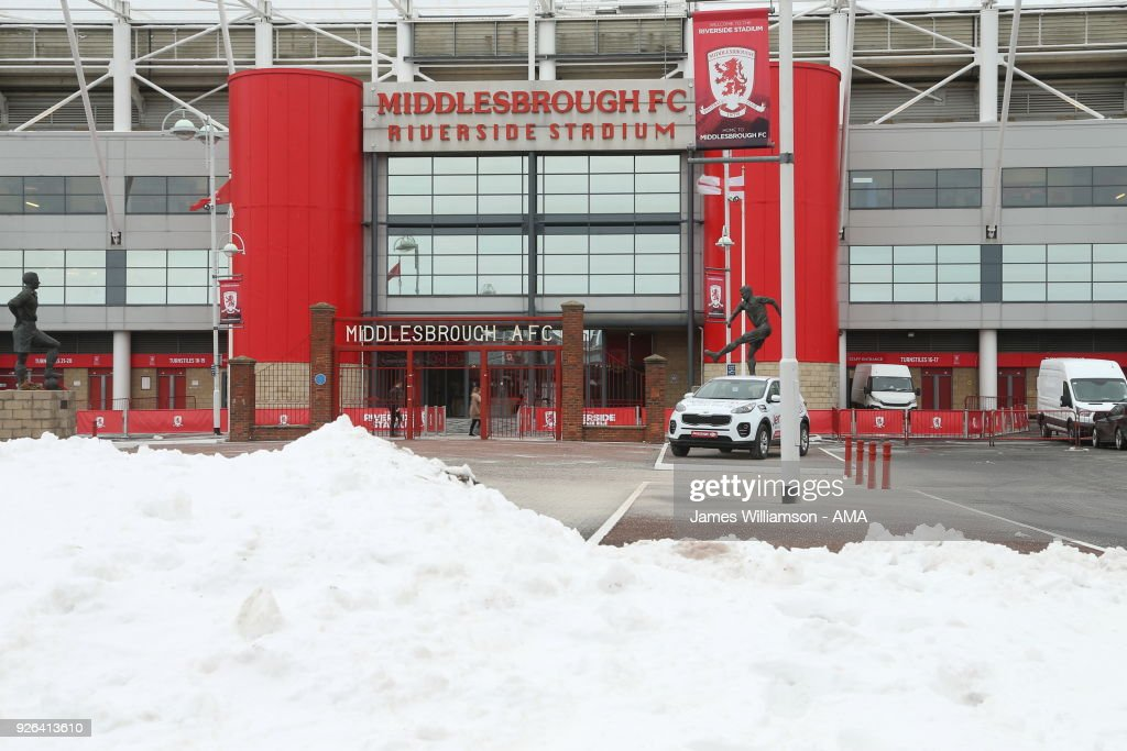 Snow piled up around the Riverside Stadium home of Middlesbrough prior to the Sky Bet Championship match between Middlesbrough and Leeds United at Riverside Stadium on March 2, 2018 in Middlesbrough, England.