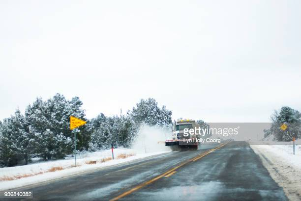 snow plough clearing snow on roadside - lyn holly coorg stock pictures, royalty-free photos & images