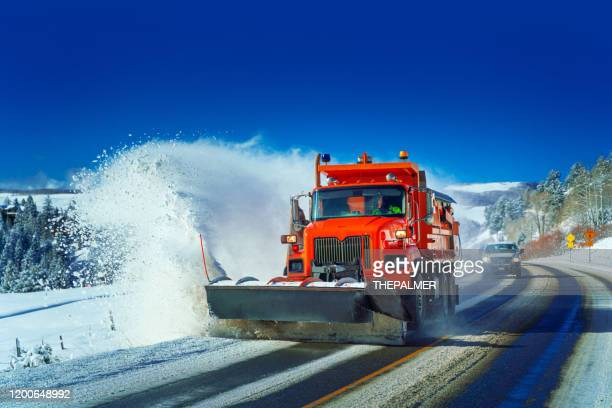 snow plow colorado highway usa - snowplow stock pictures, royalty-free photos & images